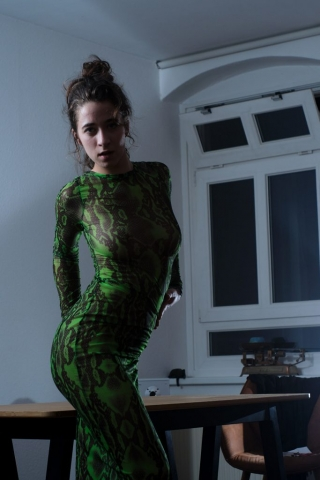 beautiful woman in a snake skin dress at home